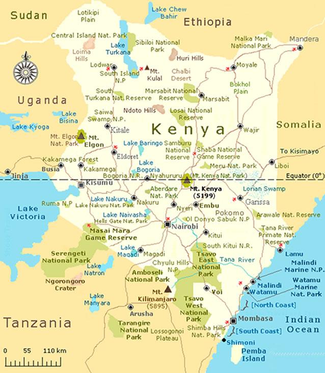 Mapnparks natural world kenya safaris map of kenya gumiabroncs Image collections